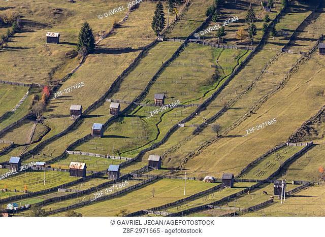 Aerial view of farmlands. Bucovina, Romania