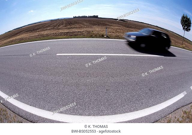 road with white street marks, Austria, Lower Austria, Weinviertel