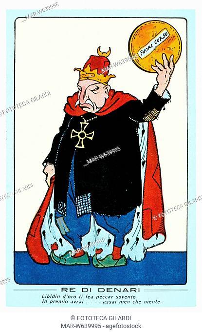 I G.M. TURCHIA caricatura contro l'alleanza tra Turchia e Germania, giudicata solo venale, sottoforma di carta da gioco. Commento in rima: 'RE DI DENARI -...