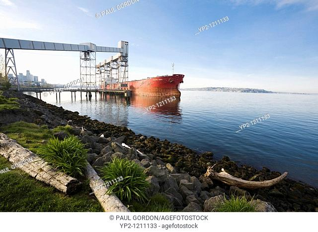 Cargo Ship Navios Hope Docked at the Port of Seattle Grain Facility, Seattle, Washington, Early Morning