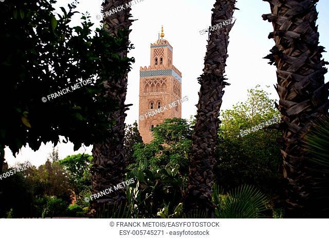 The minaret of the Koutoubia mosque. Marrakech, Morocco
