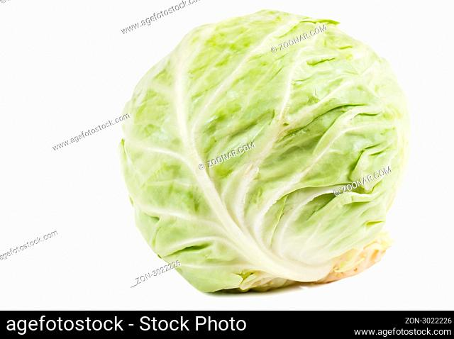 Green cabbage isolated over white background