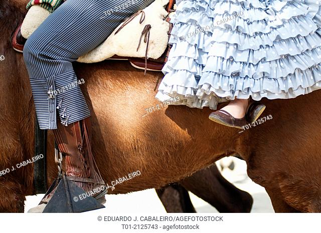 Detail or riders in the April Fair in Seville