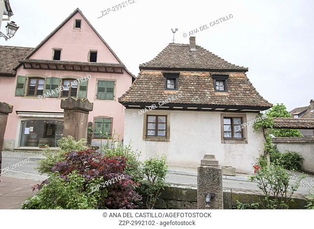 Street scenery in Mittelbergheim, a village of a region in France named Alsace on May 13, 2016