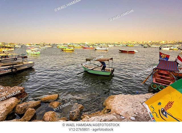 fish boats Alexandria. Egypt