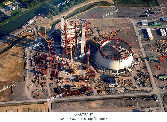 construction site of Hard Coal Fired Power Station Datteln at Dortmund-Ems Canal, Germany, North Rhine-Westphalia, Ruhr Area, Datteln