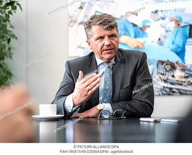 08 May 2019, Hessen, Frankfurt/Main: Stephan Sturm, Chairman of the Management Board of Fresenius SE, speaks in an interview at the company's headquarters