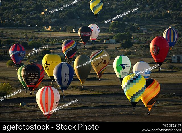 Hot air balloons in flight participating in the XXI FAI Europeans hot air balloon championship 2019, Spain, Balearic Islands, Mallorca
