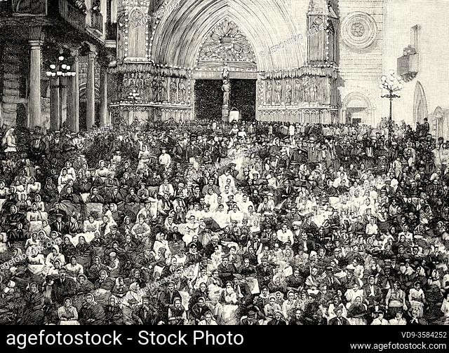 Meeting of the Spanish National Catholic Congress in Tarragona 1894, Catalonia. Spain. Old XIX century engraved illustration from La Ilustracion Española y...