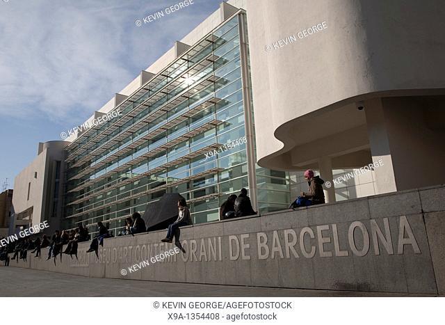 Main Facade of MACBA Contemporary Art Museum in Barcelona, Catalonia, Spain