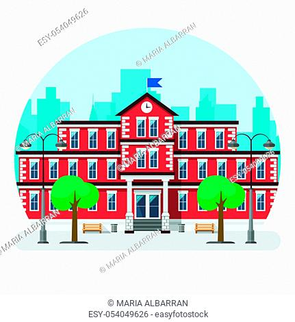 School building in a big city. Flat design. Vector illustration