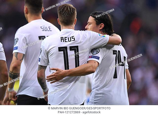 goaljubel after 1-0: goalkeeper Marco Reus (Germany) and Nico Schulz (Germany). GES / Soccer / EURO Qualification: Germany - Estonia, 11.06