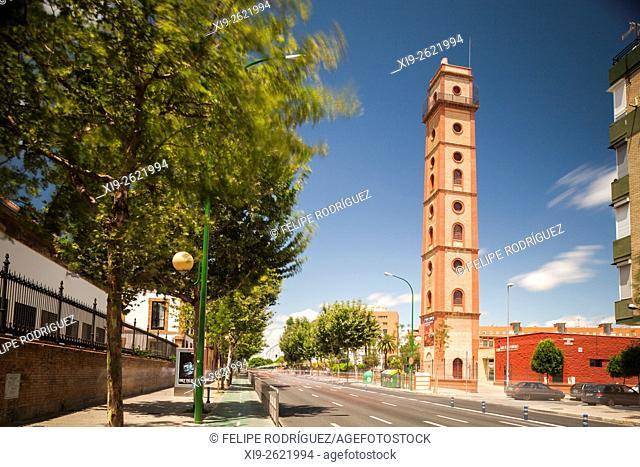 Torre de los Perdigones (Pellet gun tower), belonging to a former pellet gun factory, Seville city center, Spain. Long exposure shot