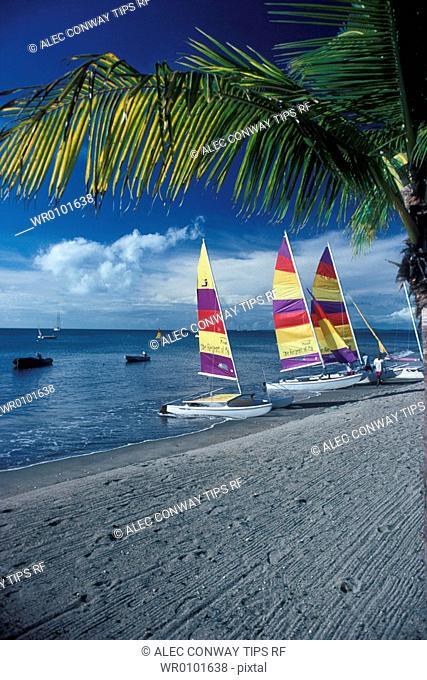 Fiji Islands, beach and catamarans
