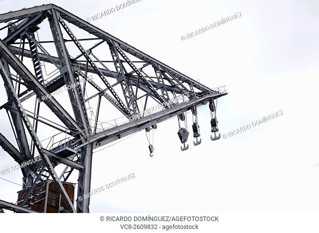 Ancient harbour crane. Valencia, Spain