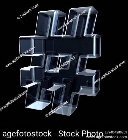 Transparent x-ray hashtag symbol. 3D render illustration on black background
