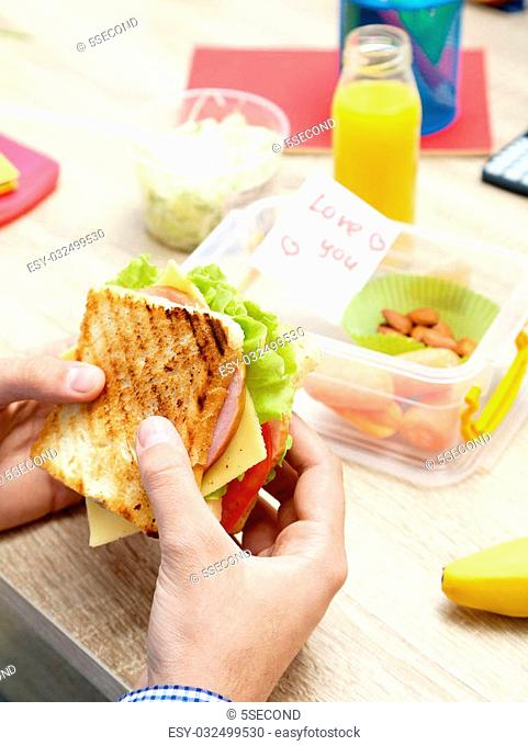 Tasty and fresh sandwiches in male hands
