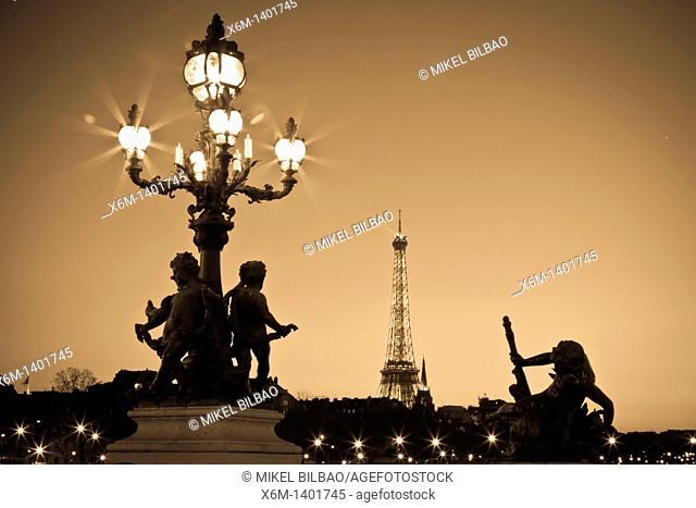 Eiffel Tower from Alexandre III bridge at sunset  Paris, France, Europe