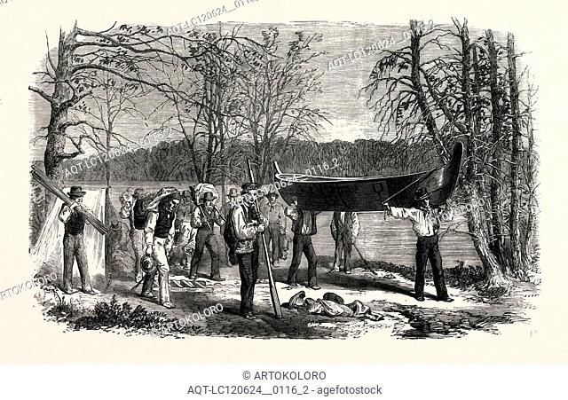 THE ASSINNIBOINE AND SASKATCHEWAN EXPLORING EXPEDITION: PORTAGING A CANOE AND BAGGAGE, 1858