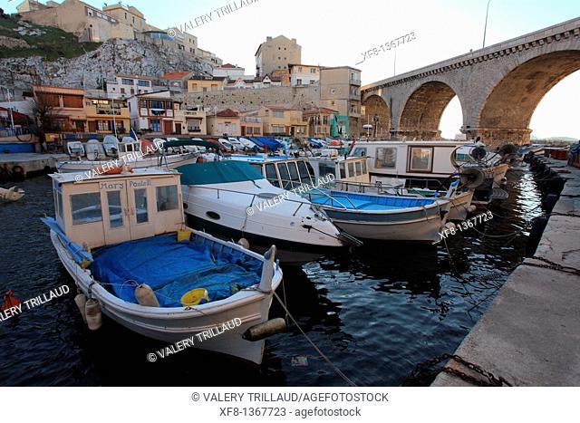 The Vallon des Auffes, Marseille, Bouches du Rhone, Provence-Alpes-Côte d'Azur, France