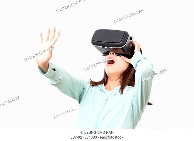 Woman feeling horrible with VR device