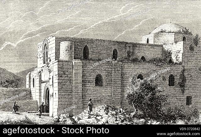 Sant'Anna church, Jerusalem, Israel. Old 19th century engraved illustration Travel to Jerusalem by Alphonse de Lamartine from El Mundo en La Mano 1879