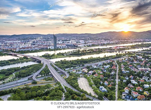Vienna, Austria, Europe. Sunset over Vienna. View from the Danube Tower