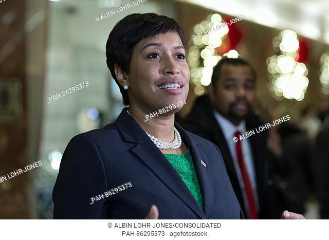 Mayor Muriel Bowser (Democrat of Washington, DC) speaks with members of the press in the lobby Trump Tower in New York, NY