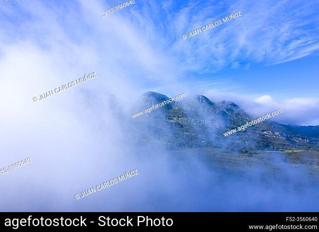 Mists in the Port of the Portillo de Lunada. Pasiegos Valleys. Merindades region. Burgos province. Community of Castilla y León. Spain, Europe