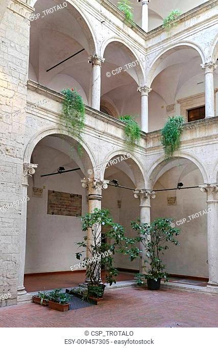 ASCOLI PICENO, ITALY - JUNE 02, 2014: The Palazzo dei Capitani del Popolo (Palace of the People's Captains). Built in the 13th century