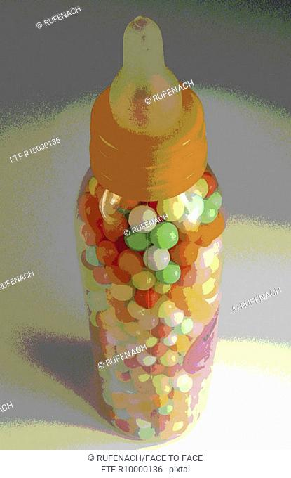 Lovepearls in a feeding bottle