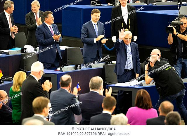 22 October 2019, France (France), Straßburg: The outgoing President of the European Commission, Jean-Claude Juncker, will deliver his farewell address to the...