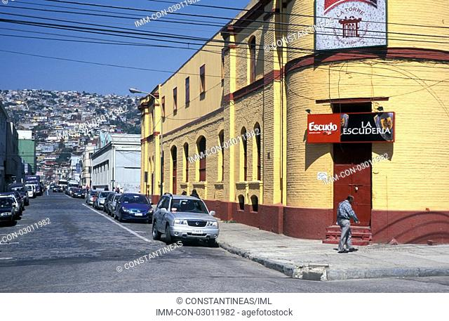 Brasil Avenue, man walking, cars Valparaiso, Chile, South America