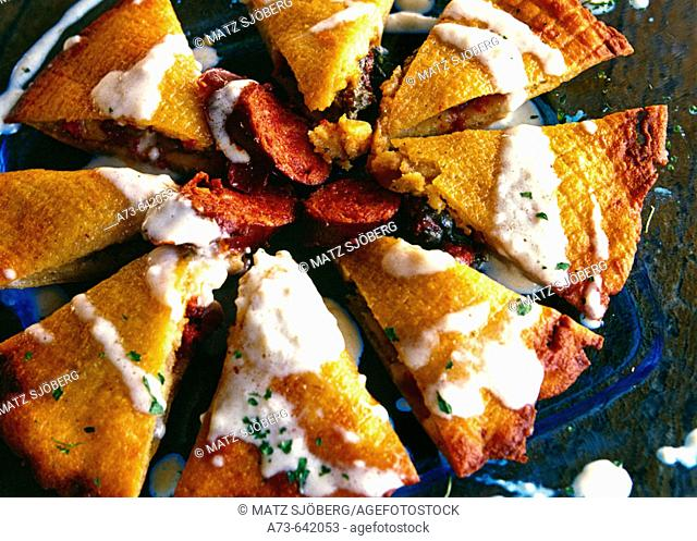 Salt pie with two cheeses. 'El Pareon' cider house restaurant. Sirvella. Asturias. Picos de Europa. Spain