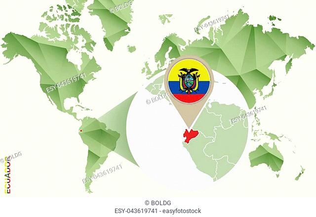 Infographic for Ecuador, detailed map of Ecuador with flag. Vector Info graphic green map