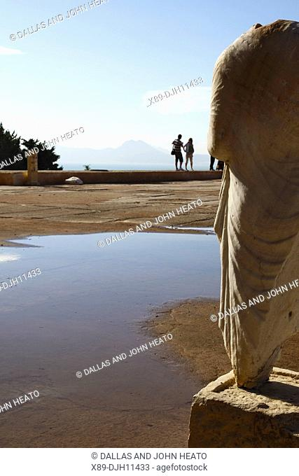 Africa, Tunisia, Tunis, Carthage, Byrsa Hill, Carthage Museum Courtyard, Ruins of Sculpture in the Punic Quarter