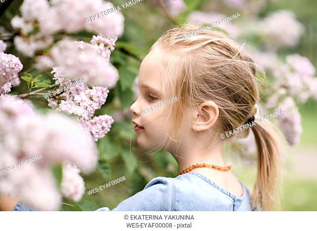 Portrait of smiling girl with lilac blossoms