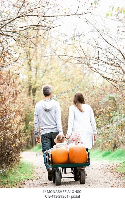 Parents pulling toddler children and pumpkins on wagon in park
