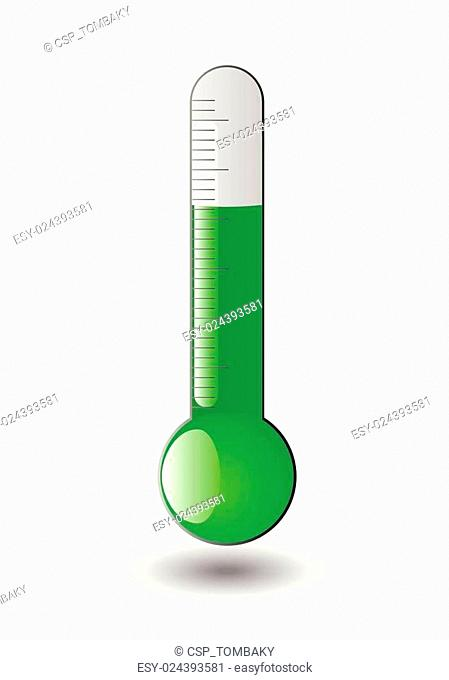 Green thermometer isolated, vector
