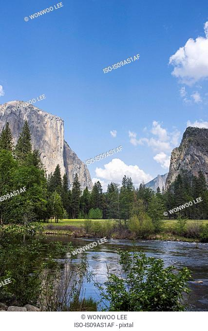 View of lake and mountain, Yosemite National Park, California, USA