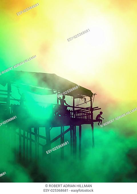 Editable vector illustration of a family in their stilted waterside wooden shack in misty atmosphere created using gradient meshes