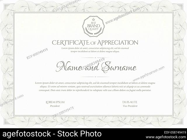 Certificate Template in silver. Diploma of modern design or gift certificate in grey color. Frame from guilloche pattern. Elegant and expensive design