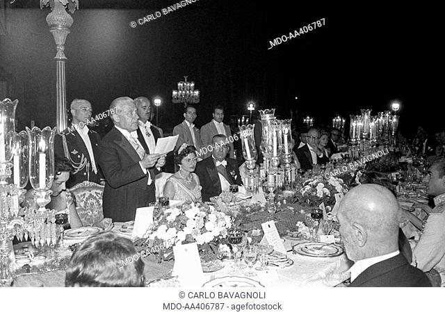 Giovanni Gronchi giving a speech at a ceremony. Italian politician and President of the Italian Republic Giovanni Gronchi giving a speech before the gala held...