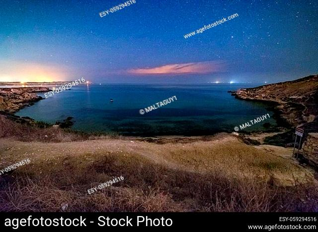 iebah Bay in Malta at night