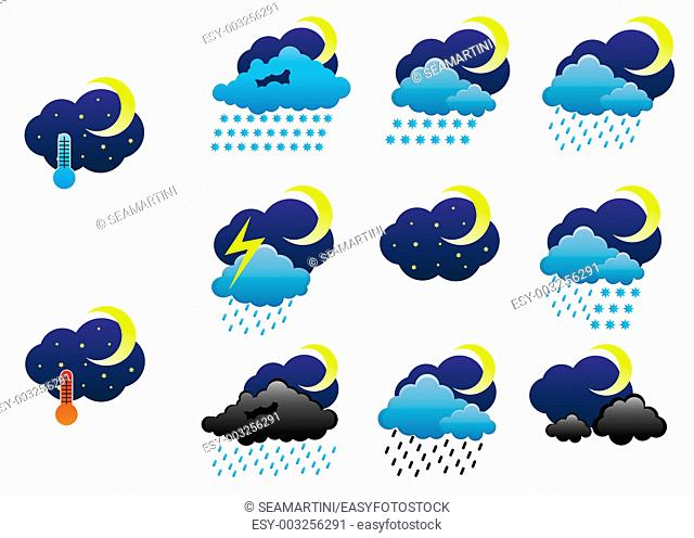 Set of night weather icons for web design