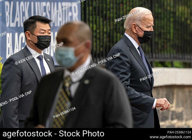 United States President Joe Biden walks out of Holy Trinity Catholic Church after mass in the Georgetown neighborhood of Washington, D.C
