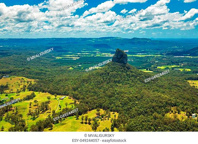 Aerial view of Glasshouse Mountains on the Sunshine Coast, Queendsland, Australia