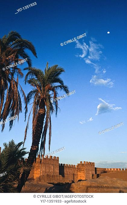 Moonlight over the city walls and remparts of Taroudant, Morocco
