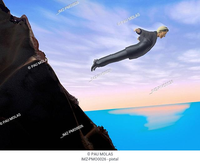A businessman who has jumped off a cliff