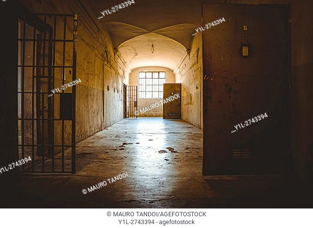 Old jail located in Upper Town of Bergamo, also know as 'Citta Alta', Lombardy, Italy